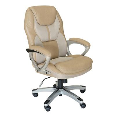 ostaa suosittuja tiedot klassiset tyylit Serta Works Faux Leather/Mesh High-Back Office Chair, Offline Cream/Silver  Item # 9853494