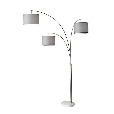 "Adesso® Bowery 3-Arm Arc Floor Lamp, 83""H, Gray Shade/White Base"
