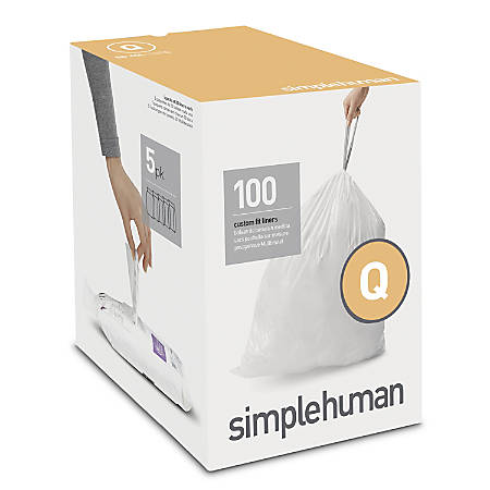 simplehuman Custom-Fit 0.03-mil Trash Can Liners, Code Q, 13 - 17 Gallons, White, Pack Of 100 Liners