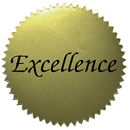 """Hayes Excellence Gold Certificate Seals, 2"""", Pack Of 50 Seals"""