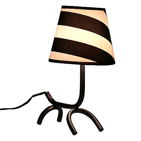 "Lumisource Woof Lamp, 14""H, Black and White Shade/Black Base"