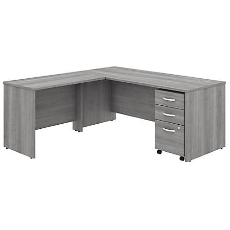 "Bush Business Furniture Studio C 72""W x 30""D L-Shaped Desk With Mobile File Cabinet And 42""W Return, Platinum Gray, Standard Delivery"