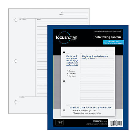 "TOPS™ FocusNotes Filler Paper, 8 1/2"" x 11"", 20 Lb, White, Pack Of 100 Sheets"