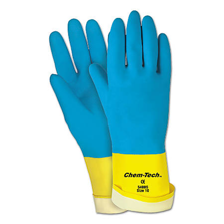 Memphis Gloves Unsupported Neoprene-Over-Latex Gloves, X-Large, Blue/Yellow, Pack Of 12
