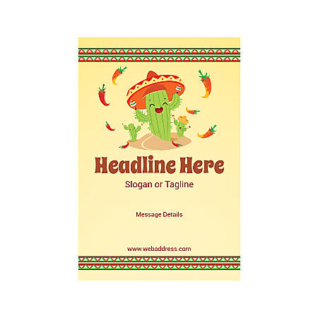Adhesive Sign, Vertical, Mexican Cactus Hat