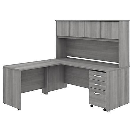 "Bush Business Furniture Studio C 72""W x 30""D L-Shaped Desk With Hutch, Mobile File Cabinet And 42""W Return, Platinum Gray, Standard Delivery"