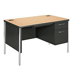HON Mentor Right Pedestal Desk MapleCharcoalAluminum