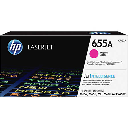 HP Original LaserJet Toner Cartridge, Magenta, 655A (CF453A)