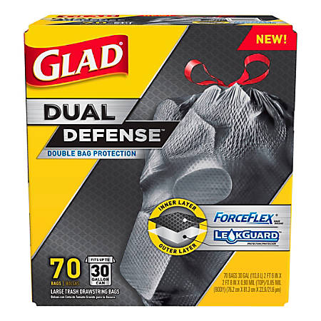 Glad Forceflex Drawstring Trash Bags 30 Gallons Black Box Of 70 Item 985848
