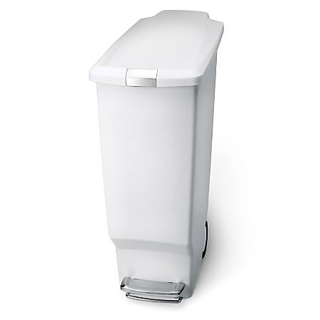 "simplehuman Slim Plastic Step Trash Can, 25 1/4""H x 10 1/4""W x 19 5/16""D, 10.57 Gallons, White"