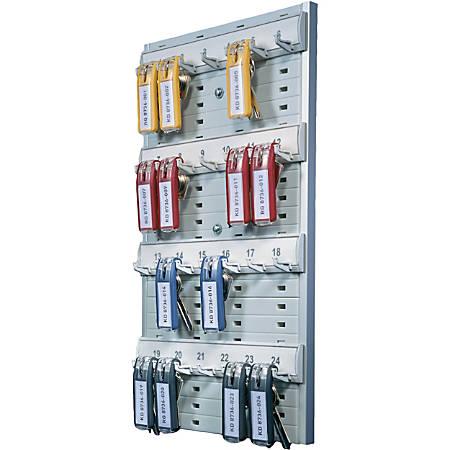 "DURABLE® Open 24-Key Rack - 8-2/5"" W x 14-3/10"" H x 1-3/10"" D - Gray - Plastic"