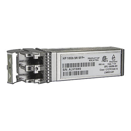 HPE - SFP+ transceiver module - 10 GigE - 10GBase-SR - LC multi-mode - up to 984 ft - for HPE D2D4324; BLc3000 Enclosure; ProLiant DL360p Gen8; SimpliVity 380 Gen10, 380 Gen9