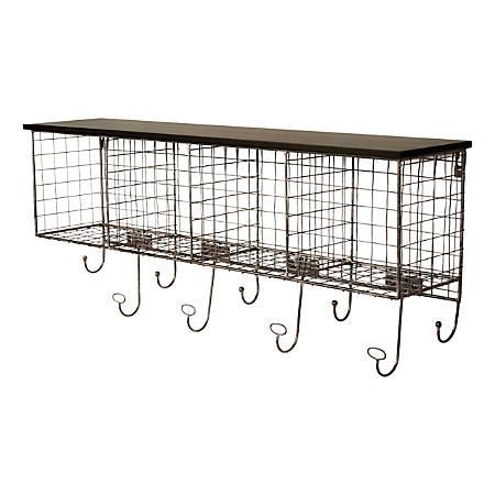 "Linon Julia Metal Wall Shelf, 4 Cubbies, 13""H x 30""W x 6-1/2""D, Black"