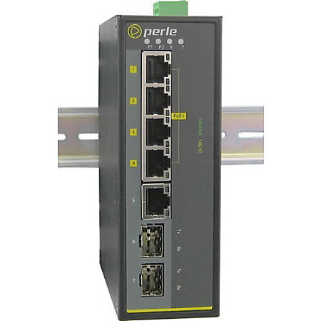 Perle IDS-105GPP-DSFP - Industrial Ethernet Switch with Power Over Ethernet - 5 Ports - 2 Layer Supported - Modular - Twisted Pair, Optical Fiber - Rail-mountable, Wall Mountable, Panel-mountable - 5 Year Limited Warranty