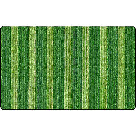Flagship Carpets Basketweave Stripes Classroom Rug, 7 1/2' x 12', Green
