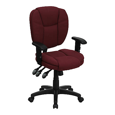 Flash Furniture Fabric Mid-Back Multifunction Ergonomic Swivel Task Chair With Adjustable Arms, Burgundy/Black