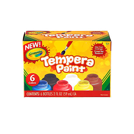 Crayola 6-color Tempera Paint - 2 oz - 6 / Set - Assorted