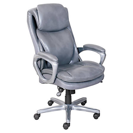 SSerta® Smart Layers Arlington Bonded Leather High-Back Executive Chair, Gray/Pewter