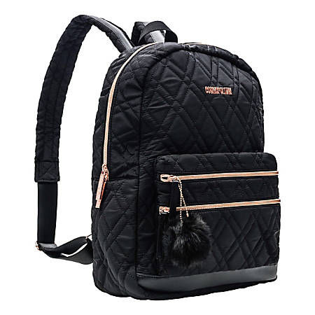 "Cosmopolitan Quilted Backpack With 15.5"" Laptop Pocket, Black/Rose Gold"