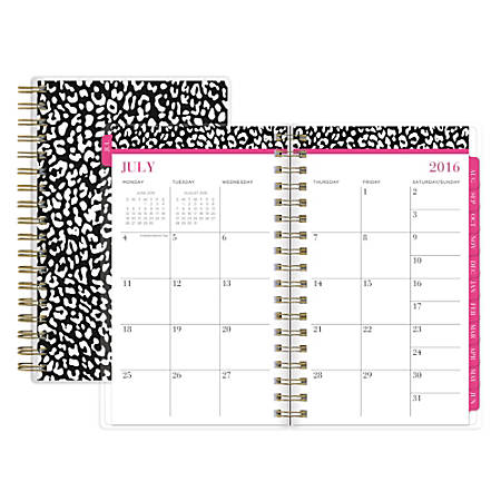 "Nicole Miller Wire-O Weekly/Monthly Planner, 3 5/8"" x 6 1/8"", Wild One, July 2016 to June 2017"
