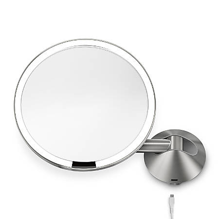 "simplehuman Sensor 5X Magnification Wall-Mount Makeup Mirror, 8"", Stainless Steel"