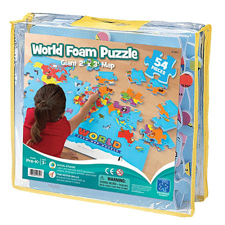 "Educational Insights World Map Foam Puzzle, 24"" x 36"", Pre-K To Grade 4"