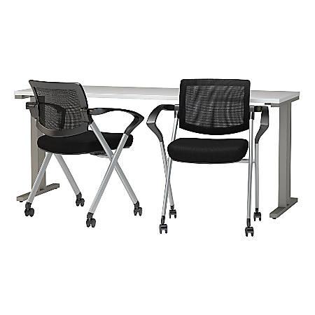 """Bush Business Furniture 400 Series 72""""W x 24""""D Training Table with Mesh Back Folding Chairs Set of 2, White, Standard Delivery"""