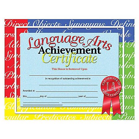 "Hayes Language Arts Achievement Certificates, 8 1/2"" x 11"", Multicolor, 30 Certificate Per Pack, Bundle Of 6 Packs"