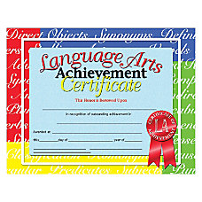 Hayes Language Arts Achievement Certificates 8