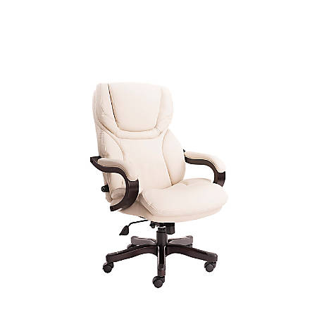 Serta Big And Tall Bonded Leather High-Back Office Chair With Upgraded Wood Accents, Inspired Ivory/Espresso