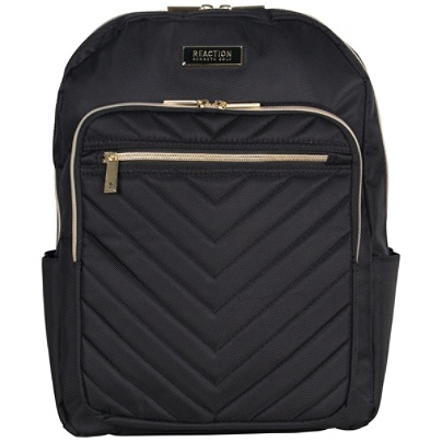 Kenneth Cole Reaction Chevron Quilted Polyester Twill Dual Compartment Fashion Forward Computer Business Backpack With 15 Laptop Pocket Black By Office