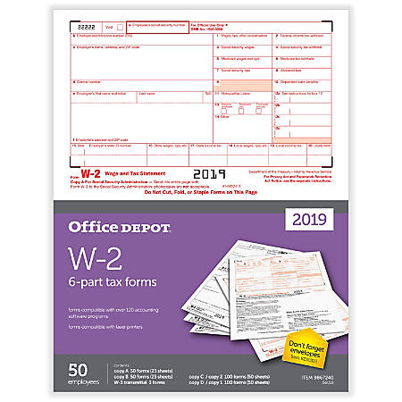 "Office Depot® Brand W-2 Laser Tax Forms, 2019 Tax Year, 2-Up, 6-Part, 8-1/2"" x 11"", Pack Of 50 Form Sets"