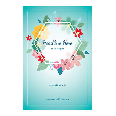 Custom Poster, Vertical, Floral Hexagon