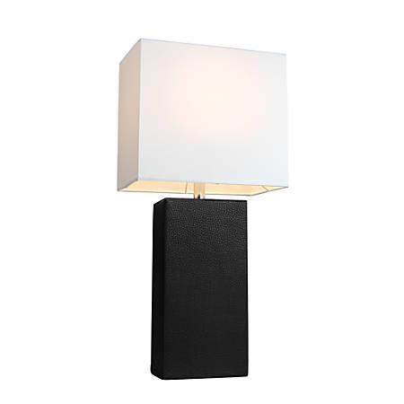"Elegant Designs Monaco Avenue Leather Table Lamp, 21""H, White Shade/Black Base"