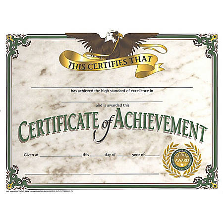 "Hayes Certificates Of Achievement, 8 1/2"" x 11"", Beige, 30 Certificates Per Pack, Bundle Of 6 Packs"