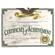 Hayes Certificates Of Achievement 8 12