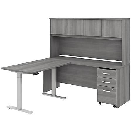 "Bush Business Furniture Studio C 72""W x 24""D L-Shaped Desk With Hutch, 48""W Height-Adjustable Return And Storage, Platinum Gray, Premium Installation"