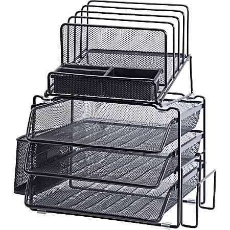 Lorell® Mesh 4-Tier Desk Organizer, Black