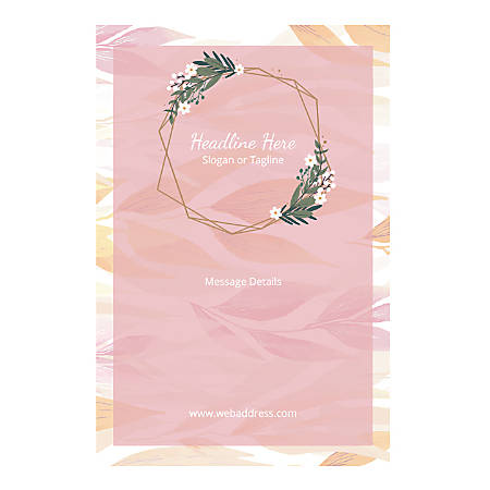 Custom Poster, Vertical, Pink Leaves And Garland