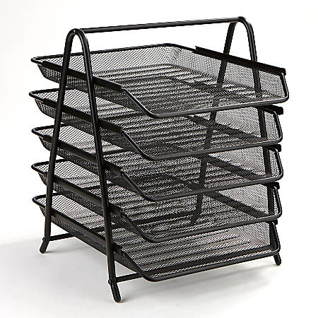 Mind Reader Steel Mesh Paper Tray Desk Organizer, 5 Tiers, Black
