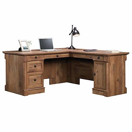 Sauder® Palladia Collection L-Shaped Desk, Vintage Oak