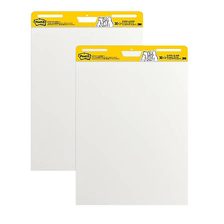 "Post-it® Super Sticky Easel Pads, 25"" x 30"", White, Pack Of 2 Pads"