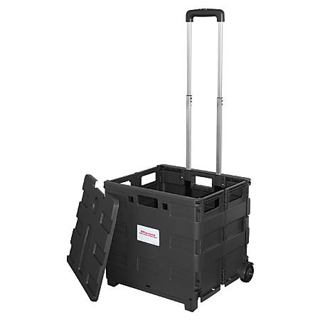 "Office Depot® Brand Mobile Folding Cart With Lid, 16""H x 18""W x 15""D, Black"