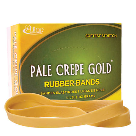 """Alliance® Pale Crepe Gold® Rubber Bands In 1/4-Lb Box, #107, 7"""" x 5/8"""", Box Of 15"""