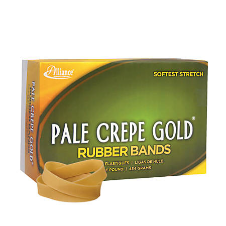 "Alliance® Pale Crepe Gold® Rubber Bands, #82, 2 1/2"" x 1/2"", 1 Lb, Box Of 320"