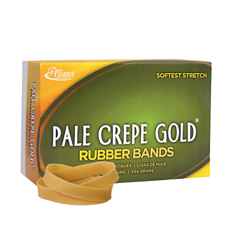 "Alliance® Pale Crepe Gold® Rubber Bands, #84, 3 1/2"" x 1/2"", 1 Lb, Box Of 240"