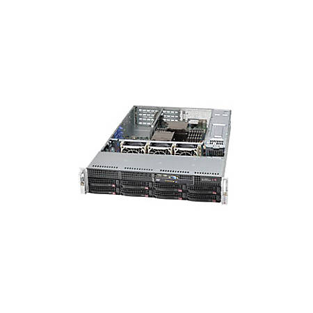 "Supermicro SuperChassis SC825TQ-R500WB System Cabinet - Rack-mountable - Black - 2U - 11 x Bay - 3 x Fan(s) Installed - 2 x 500 W - EATX Motherboard Supported - 52 lb - 3 x Fan(s) Supported - 1 x External 5.25"" Bay - 8 x External 3.5"" Bay"