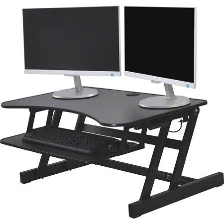 use freedesk ergo products slim adjustable black ask riser in desk works