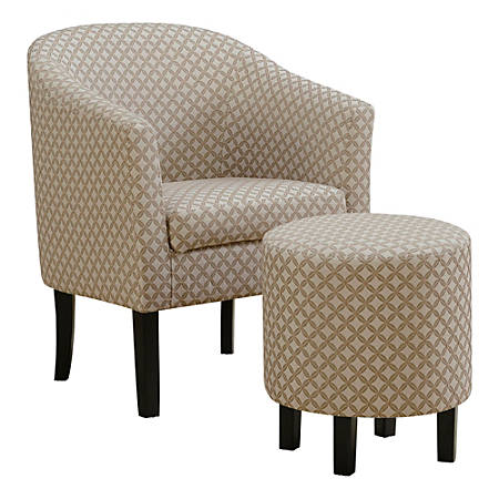 Monarch Specialties Selena Accent Chair With Ottoman, Dark Taupe