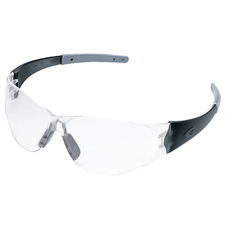 Crews Checkmate® 2 Safety Glasses, Smoke/Silver Temple, Clear Anti-Fog Lenses